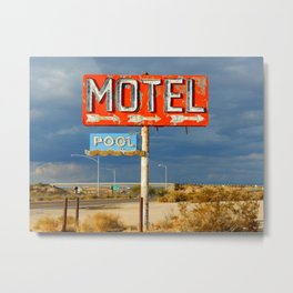 Vintage Motel Road Sign Metal Print