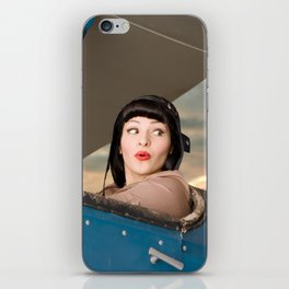 """""""Plucky Pilot"""" - The Playful Pinup - Pilot Pin-up Girl in Airplane by Maxwell H. Johnson iPhone Skin"""