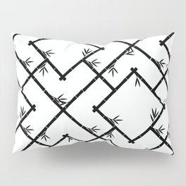 Bamboo Chinoiserie Lattice in White + Black Pillow Sham