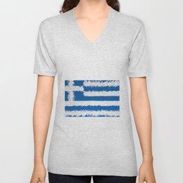 Extruded flag of Greece Unisex V-Neck