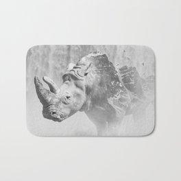 Rhino Photography | Animal |  Landscape | Abstract | Niagara Falls | Nature | Black and White Bath Mat
