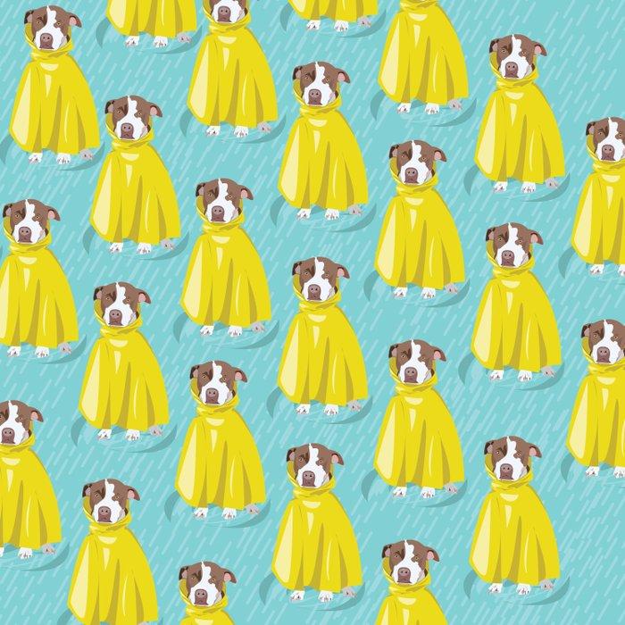 pit bull in rain coat Duvet Cover