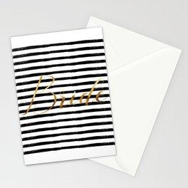 Bride & Stripes - Gold / Black Stationery Cards