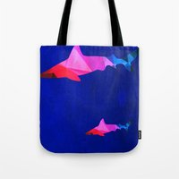 sharks Tote Bags featuring Sharks by Cullen Rawlins