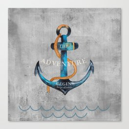 Maritime Design- Nautic Anchor Navy Marine Beach Canvas Print