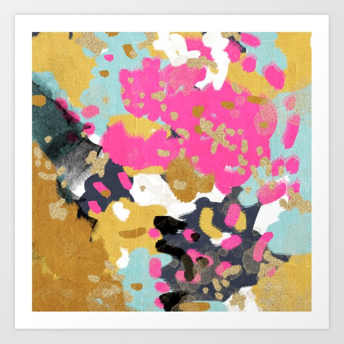 Sacha Abstract Painting Boho Color Palette Bright Happy Dorm College Abstract Art Art Print By Charlottewinter