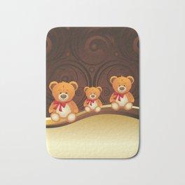 Teddy bear with red bow Bath Mat
