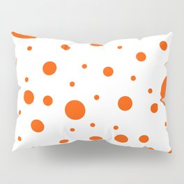 Mixed Polka Dots - Dark Orange on White Pillow Sham