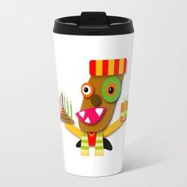 Red and Yellow Kwanzaa Kawaii Cartoon Travel Mug