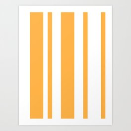 Mixed Vertical Stripes - White and Pastel Orange Art Print