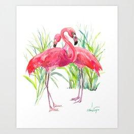 Flamingos, two flamingo birds, pink green art Art Print