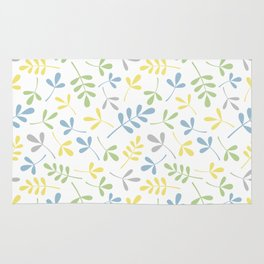 Assorted Leaf Silhouettes Blue Green Grey Yellow White Ptn Rug