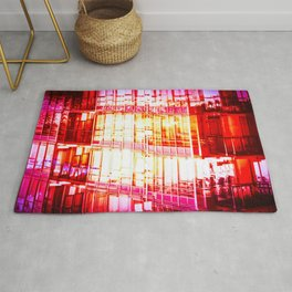 Red Reflections Cityscape Rug