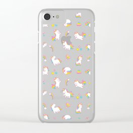 Cute magical rainbow girly pink trendy Unicorn pattern Clear iPhone Case
