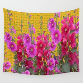 MODERN STYLE FUCHSIA-PINK HOLLYHOCKS GARDEN Wall Tapestry
