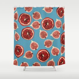 Figs - Pomegranate - turquoise Shower Curtain