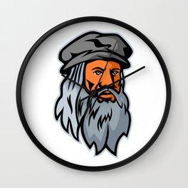 Leonardo da Vinci Head Mascot Wall Clock