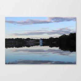 Evening Fountain Photo Canvas Print
