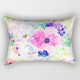 Pretty watercolor floral hand paint design Rectangular Pillow