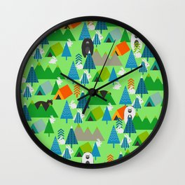Forest with cute little bunnies and bears Wall Clock