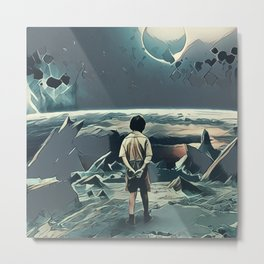 Lonely boy in cosmos Metal Print