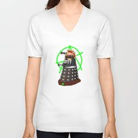 dalek V-neck T-shirts featuring Punk Dalek by Andrew Mark Hunter