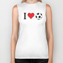 I Love Soccer Biker Tank