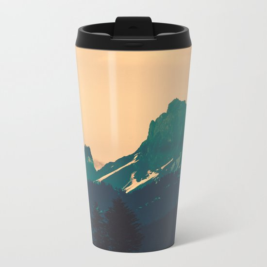Cascade Mountains Sunset Metal Travel Mug