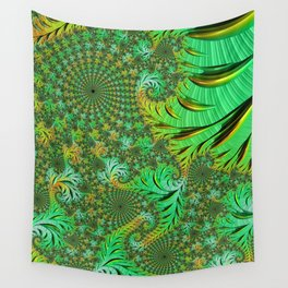 Green Fractal Wall Tapestry