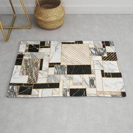 Random Pattern - Black and White Marble Rug