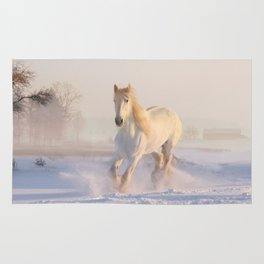 White horse in snow Rug