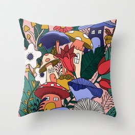 Shroom House Throw Pillow