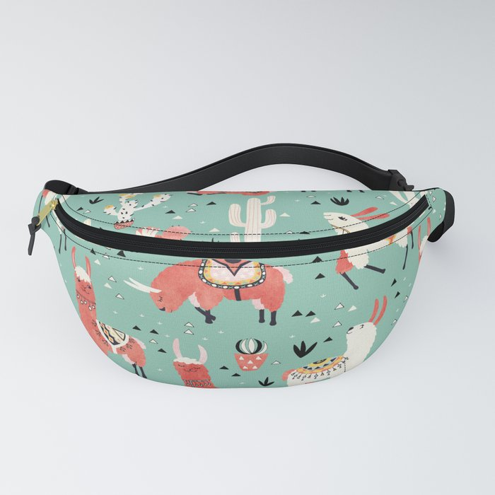 Llamas and cactus in a pot on green Fanny Pack