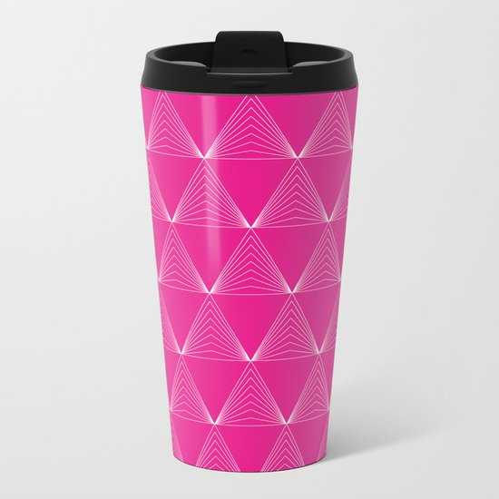 Simple Geometric Triangle Pattern- White on Pink - Mix & Match with Simplicity of life Metal Travel Mug