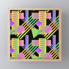 Neon Ombre 90's Striped Shapes Framed Mini Art Print
