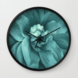 Soft Teal Flower Wall Clock