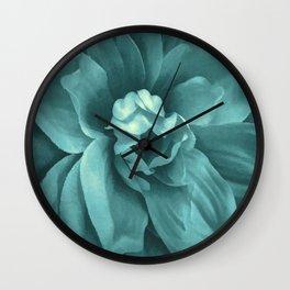 Soft Teal Flower Wall Clock