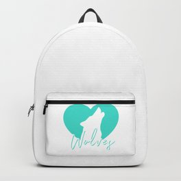 Cute Howling Wolf Spirit Animal Heart Love Wolves Gift Backpack