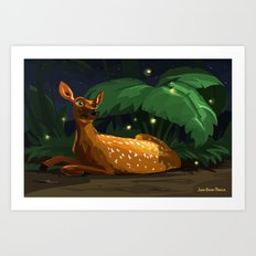 Fawn and Fireflies Art Print