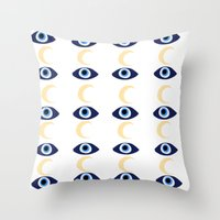 evil eye Throw Pillows featuring evil eye by sabrina