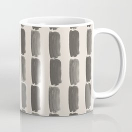 Brown and Cream Grid Brushstroke Pattern 2021 Color of the Year Urbane Bronze and Shoji White Coffee Mug