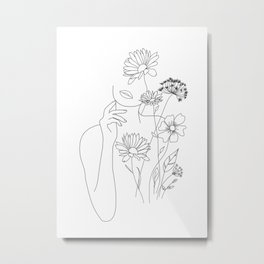 Minimal Line Art Woman with Flowers III Metal Print