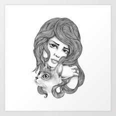 THE GIRL AND THE CAT Art Print