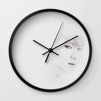 exo Wall Clocks featuring Waiting by gaborovna