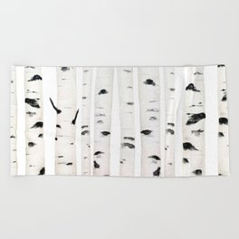 birch horizontal Beach Towel