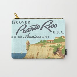 Vintage Discover Puerto Rico WPA Travel Carry-All Pouch