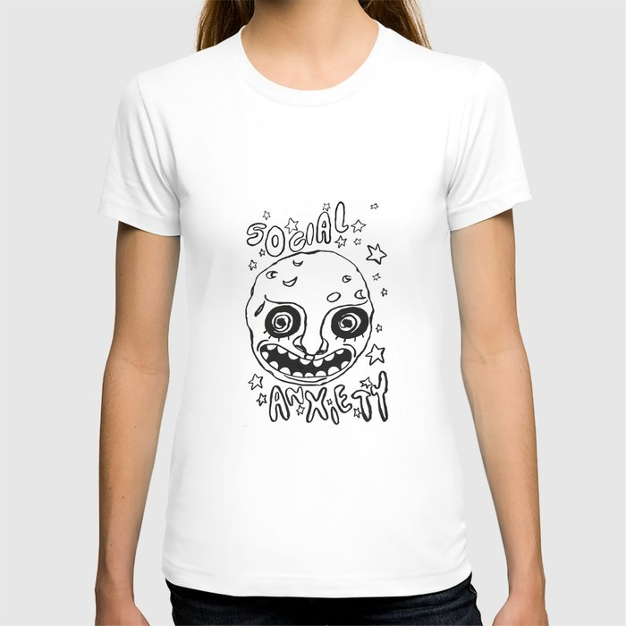 33f970f09542 social anxiety black and white T-shirt by itsthespacebetween | Society6