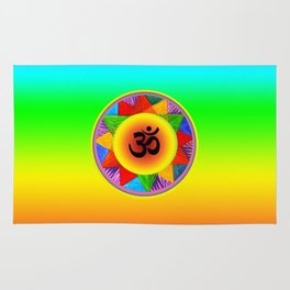 Ohm with Chakra Colours Rug