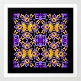 BLACK-GOLD-PURPLE BUTTERFLIES PANSY KALEIDOSCOPE Art Print