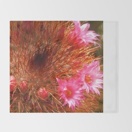 Red Cactus in Bloom Throw Blanket